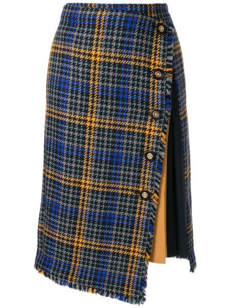 Niebieska spódnica asymetryczna wełniana Loveless