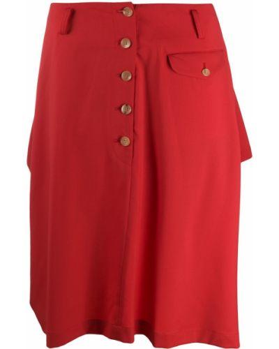 Красная шерстяная асимметричная юбка на пуговицах Comme Des Garçons Homme Plus