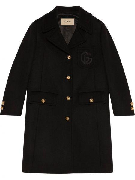 Długi płaszcz wełniany - czarny Gucci
