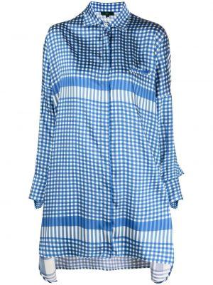 Синяя классическая рубашка в клетку оверсайз Jejia
