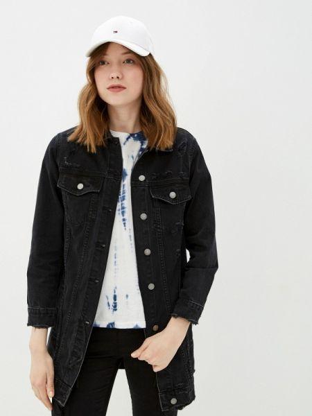 Джинсовая куртка черная весенняя Miss Bon Bon