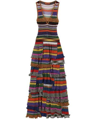 Вязаное платье с V-образным вырезом макси Missoni