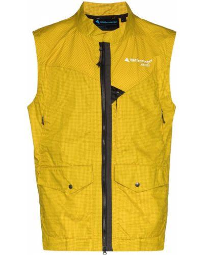 Хлопковая спортивная желтая спортивная жилетка с карманами Klättermusen