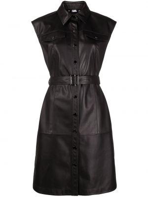 Черное платье мини с поясом без рукавов Karl Lagerfeld