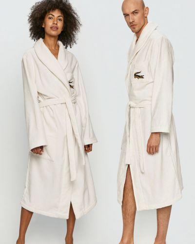 Biały szlafrok bawełniany Lacoste