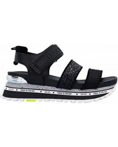Czarne sandały płaskie na platformie w paski Liu Jo