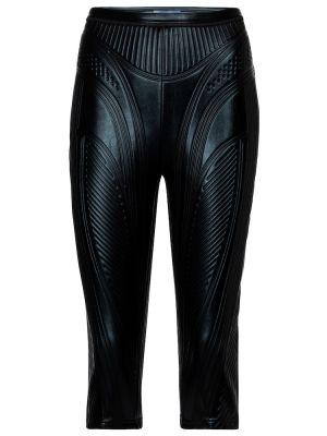 Черные шорты байкерские с тиснением Mugler