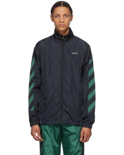 Nylon czarny długa kurtka z długimi rękawami z kieszeniami Off-white