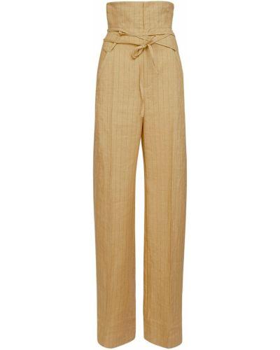 Żółte spodnie w paski Jacquemus