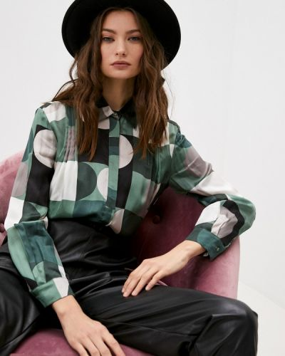 Зеленая блузка с длинным рукавом с длинными рукавами Max&co