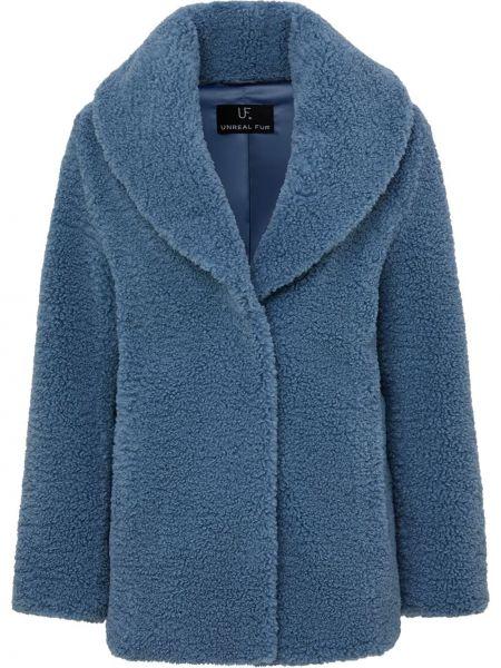Синее пальто для полных с подкладкой Unreal Fur