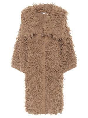 Коричневое пальто из альпаки Stella Mccartney