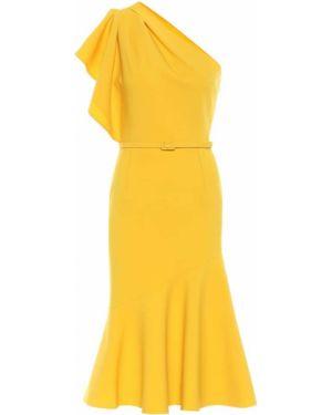 Шерстяное желтое платье миди в рубчик Oscar De La Renta