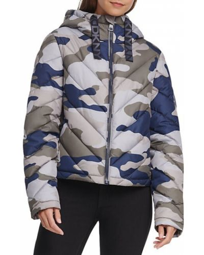 С кулиской длинная куртка с капюшоном с длинными рукавами Dkny