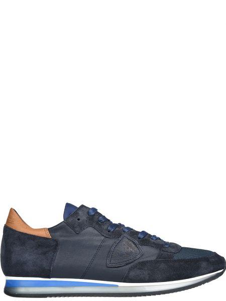 Кожаные кроссовки - синие Philippe Model