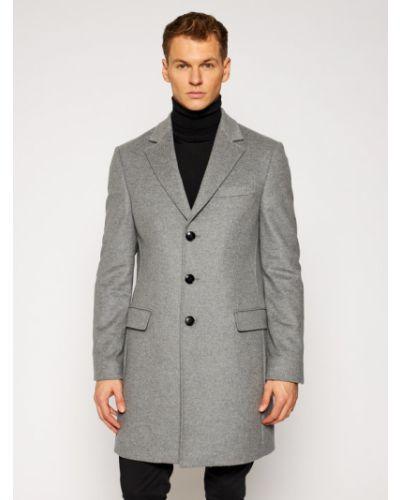 Szary płaszcz wełniany Tommy Hilfiger
