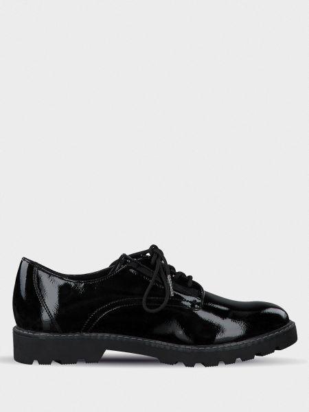 Повседневные кожаные черные полуботинки Tamaris
