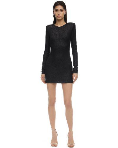 Czarna sukienka mini z długimi rękawami Alexandre Vauthier