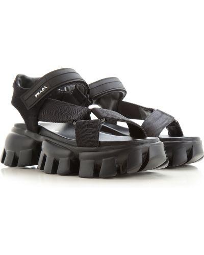 Czarne sandały skorzane na rzepy Prada