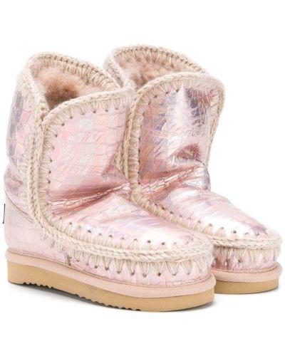 Розовые зимние ботинки из крокодила с тиснением без застежки Mou Kids