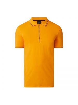 T-shirt z printem - pomarańczowa Armani Exchange