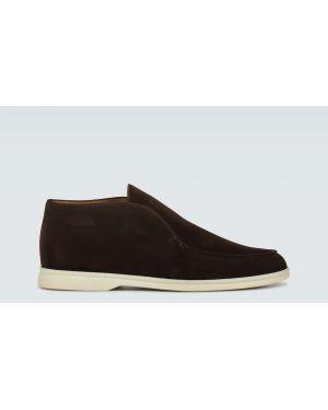 Открытые коричневые замшевые классические туфли Loro Piana