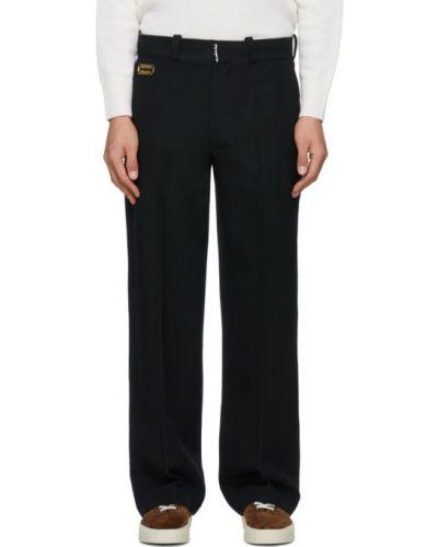 Прямые черные брюки с защипами с карманами Tanaka