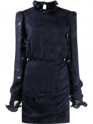 Шелковое синее платье макси прозрачное Saloni