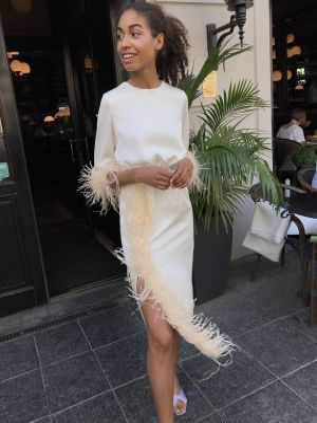 Платье миди с перьями 12storeez
