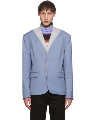 Малиновый удлиненный пиджак с карманами с воротником Keenkee