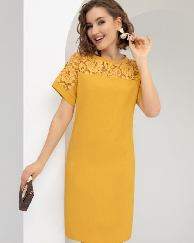 Льняное прямое платье с вырезом Charutti