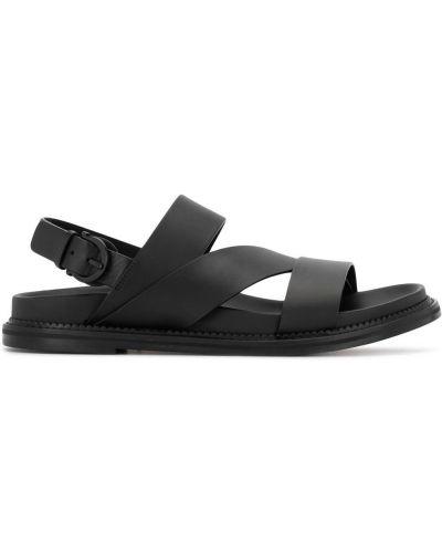 Otwarty z paskiem czarny skórzany sandały Salvatore Ferragamo