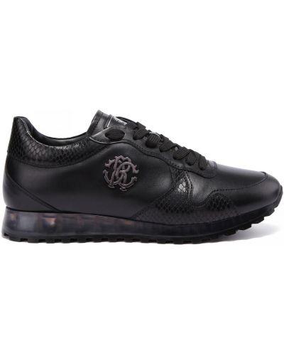 Кожаные кроссовки на шнуровке закрытые Roberto Cavalli