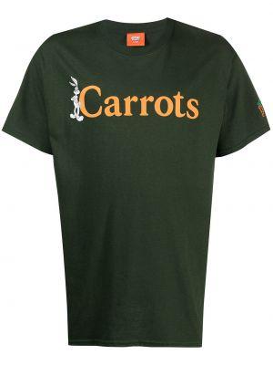 Zielony t-shirt krótki rękaw z printem Carrots