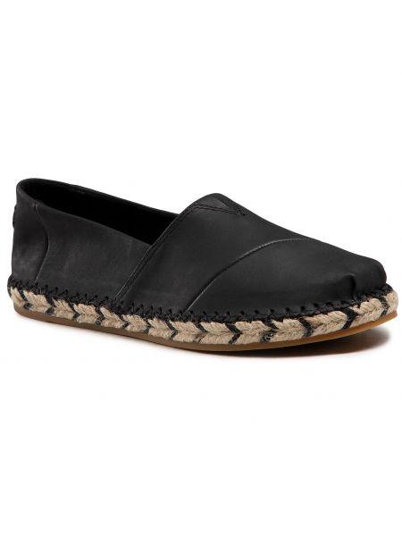 Półbuty skórzane casual - czarne Toms