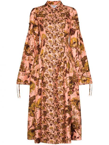 С рукавами шелковое коричневое платье макси с воротником Evi Grintela