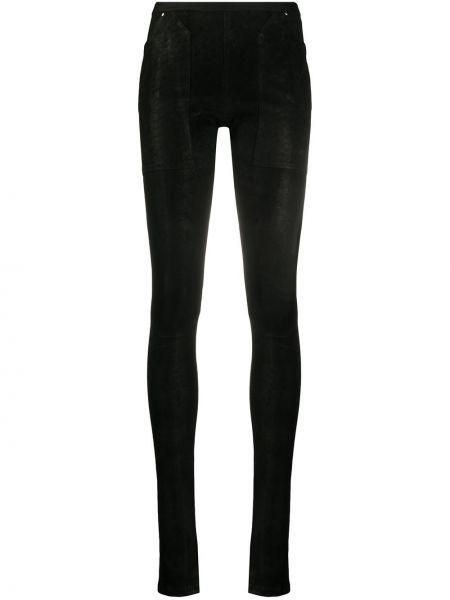 Черные кожаные леггинсы с карманами Rick Owens