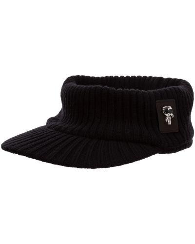 Czarna czapka z haftem Karl Lagerfeld