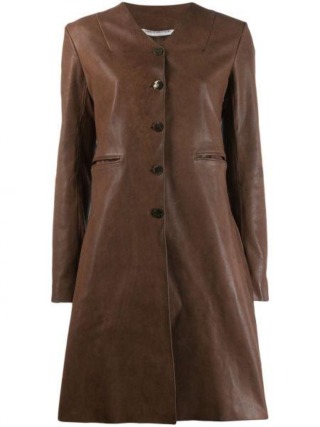 С рукавами коричневое однобортное кожаное пальто на пуговицах Cherevichkiotvichki