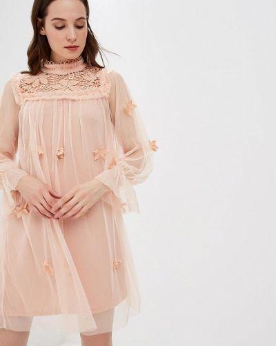 Вечернее платье розовое осеннее Danity
