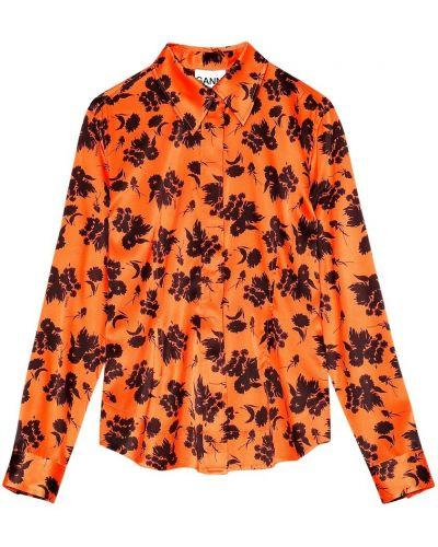 Pomarańczowa koszula zapinane na guziki Ganni
