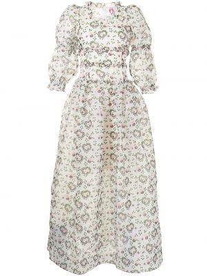 Biała sukienka długa z długimi rękawami z printem Shrimps