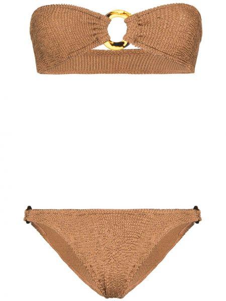 Вязаные нейлоновые коричневые бикини Hunza G
