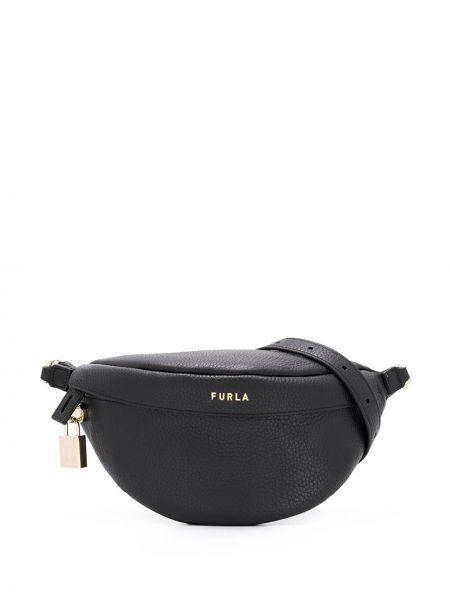 Кожаный черный ремень с поясом с тиснением Furla