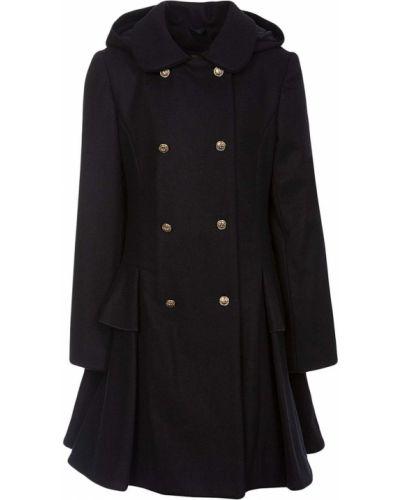 Шерстяное пальто классическое с капюшоном двубортное Lapin House