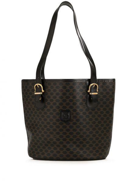 Кожаная коричневая сумка-тоут на молнии с нашивками Céline Pre-owned