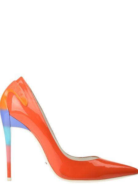 Туфли на каблуке кожаные оранжевый Baldinini