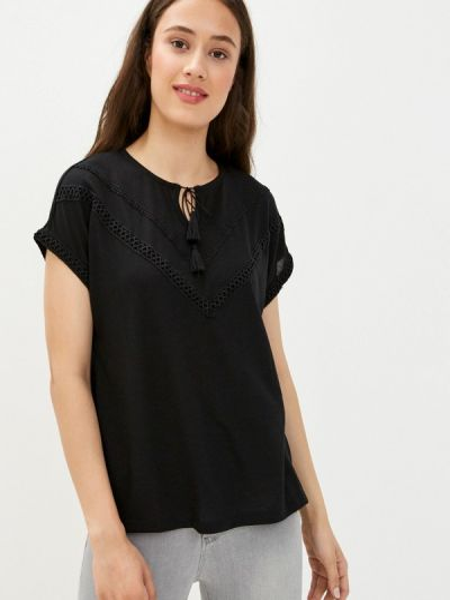 Черная блузка с коротким рукавом с короткими рукавами Defacto