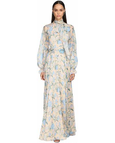 Бежевое шифоновое платье макси с длинными рукавами Luisa Beccaria
