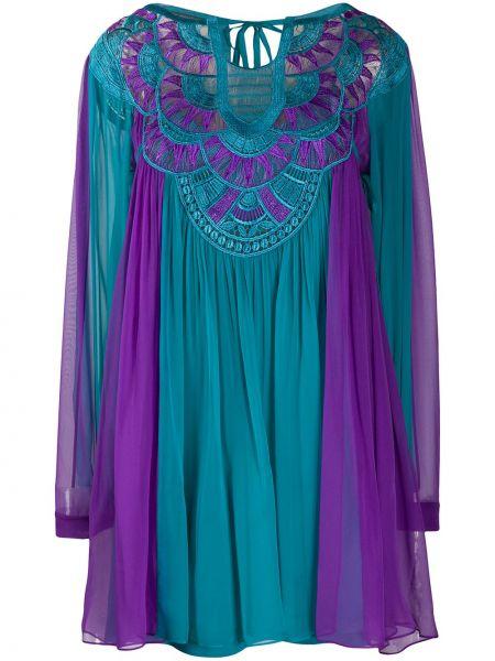 Платье макси с вышивкой плиссированное Alberta Ferretti